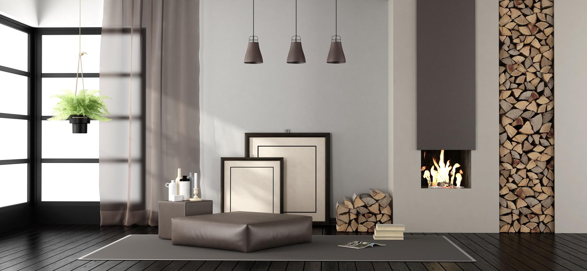 Home Page Sani-Lux - Salon avec cheminée et bois